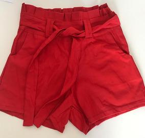Shorts Saia Cintura Alta Shortinho Laço Passador