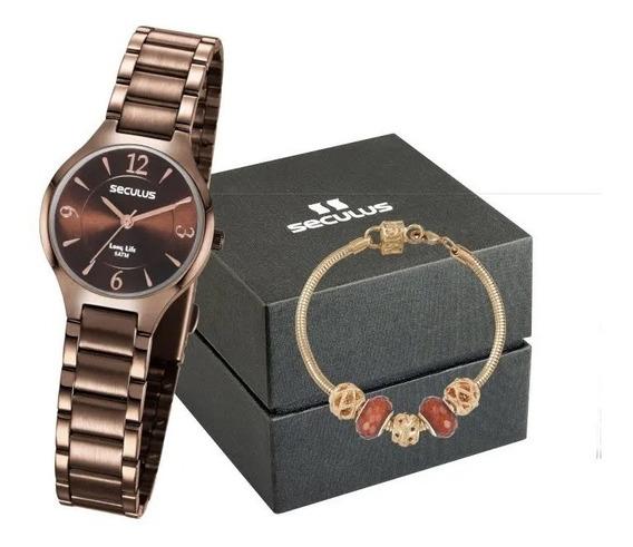 Relógio Seculus Feminino Analógico + Pulseira Berloques