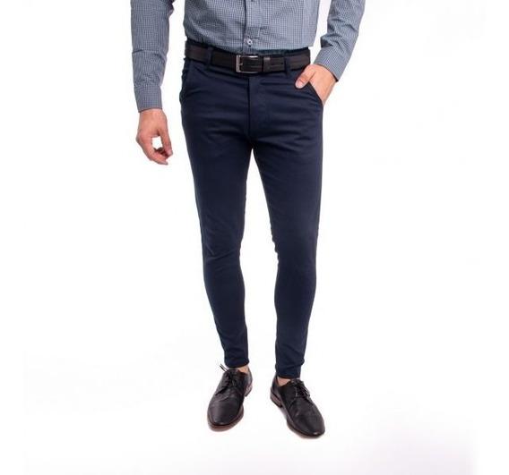 Pantalon Chino Hombre Gabardina Azul Chupin Elastizado