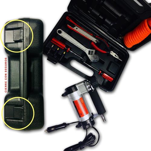 Mini Compresor Portatil 12v Aire Auto Kit Caja Herramientas