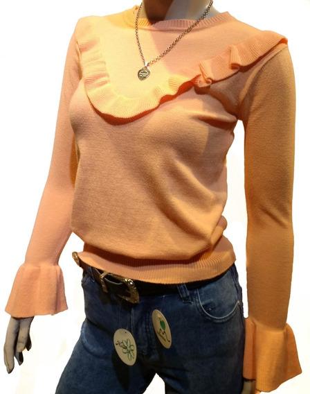 Sweater Volado Escote Manga Oxford Mujer Bremer Suave