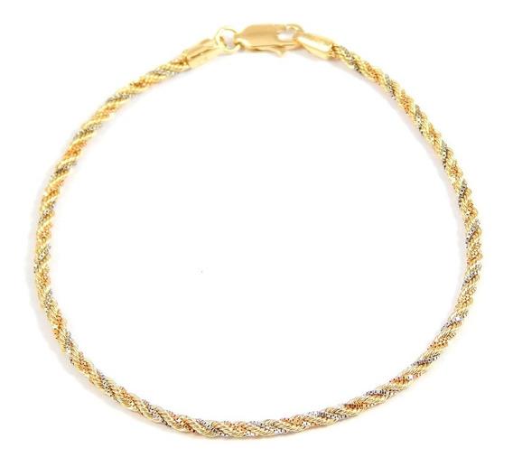 Pulseira De Ouro 18k Cordão Torcido Tricolor - Viagold F43