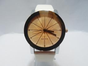 10 Relógio Feminino Quartz Couro Com Dourado Original