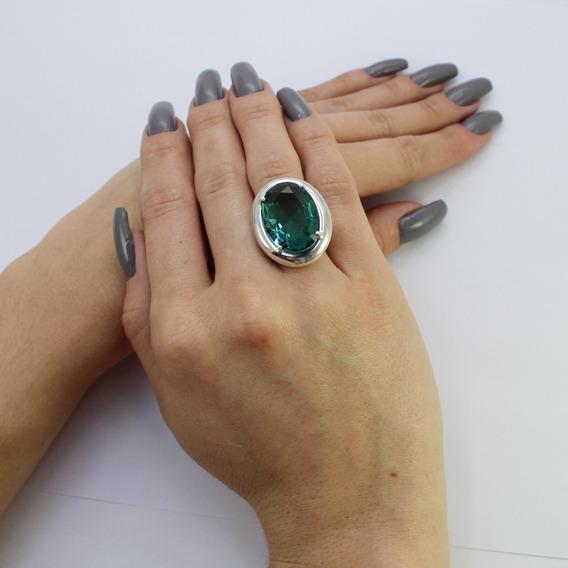 Anel Em Prata 925 Com Cristal Lapidado Na Cor Verde Paraíba
