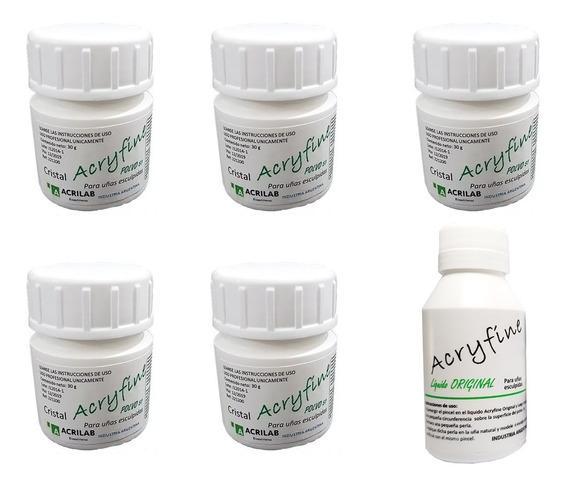 5 Polimeros Acryfine Uñas Acrilicas + Monomero 100ml