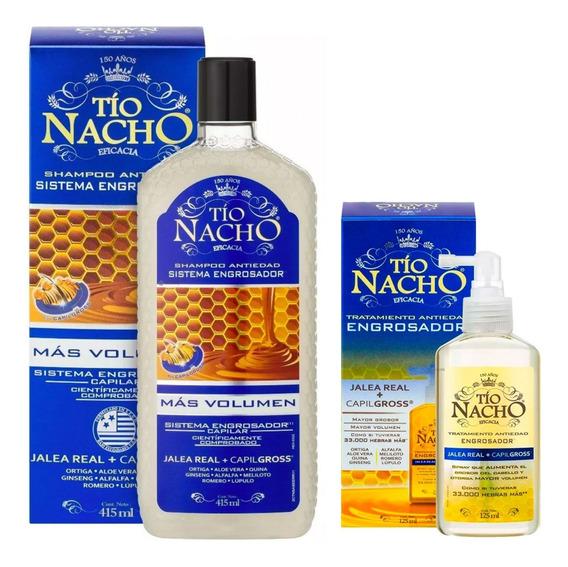 Kit Tío Nacho Antiedad Engrosador Shampoo+spray 125ml