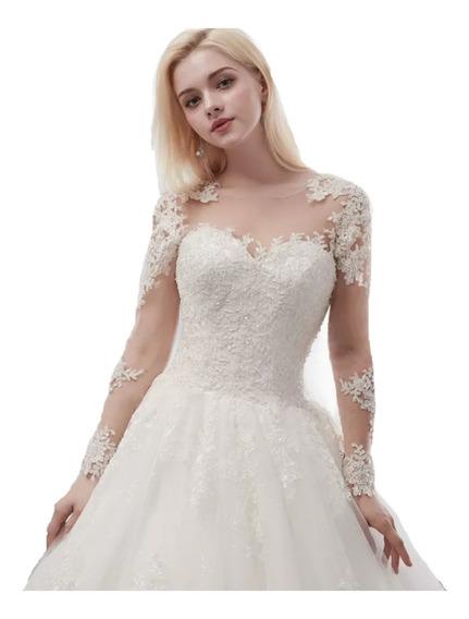 Vestido Noiva Princesa Renda Brinde Anágua+tiara+brinco+capa
