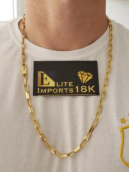 Cordão Tijolinho 6mm Banhado A Ouro 18k Masculino Luxo