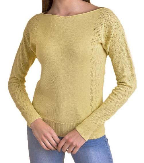 Sweater Tejido Mujer Cuello Bote Hilado Cristal Mauro Sergio