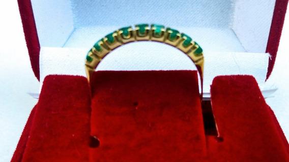 Meia Aliança Ouro 18k Com Esmeraldas