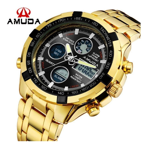 Relógio Dourado Prata Masculino Amuda Luxo(novo)