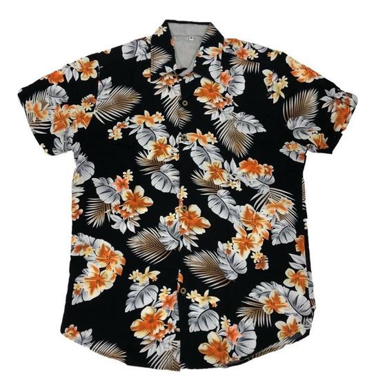 Camisa Masculina Estampa Floral Havaiana Manga Curta Viscose