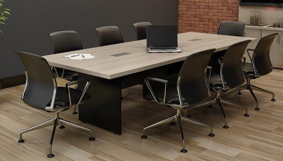 Sala De Reunião Conjunto Mesa 2 Mt + Aparador + 6 Cadeiras