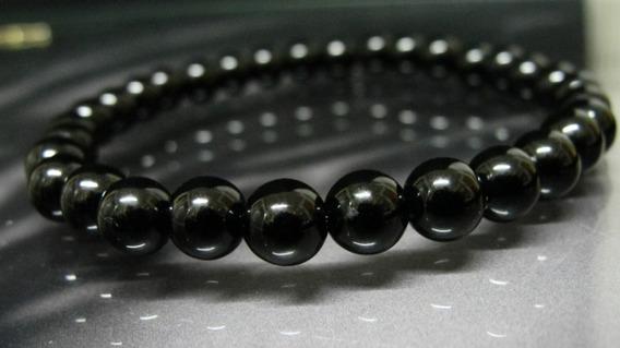 Pulseira De Esferas C/ 8 Mm Pedra Obsidiana Negra Unissex