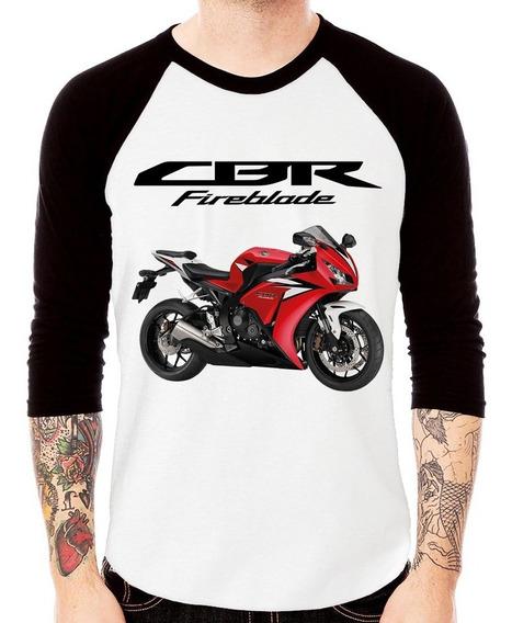Camiseta Raglan Moto Honda Cbr 1000rr Vermelha 2012 3/4