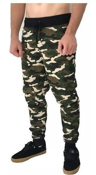 Calça Slim Moletom Roupa Masculino Camuflado Militar Liso Vd