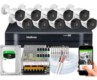 Kit Cftv Intelbras 10 Cameras 3230b 1080p 30mts 2m Dvr 16 Ch