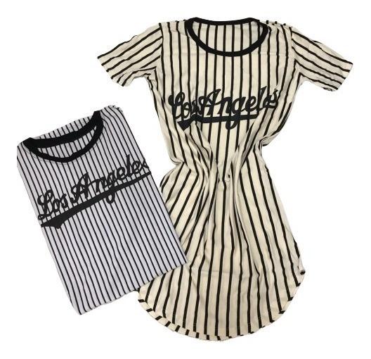 Vestido Maxi Tshirt Camisetão Listrada Los Angeles