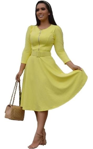 Vestido Modesto Midi Godê Piquet Cinto Moda Evangélica Zíper