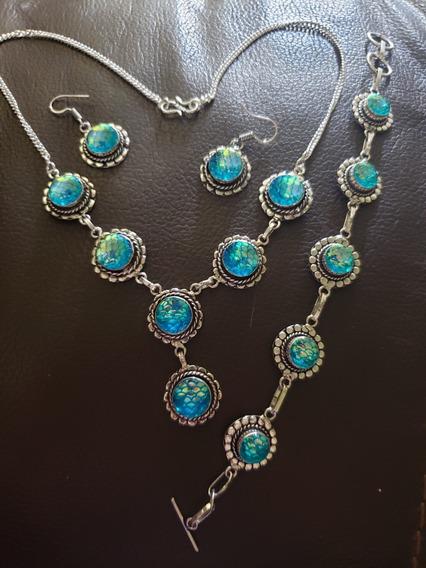 Collar, Plata 925, Acrílico, Azul, Escamas De Sirena, Único
