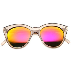 43e98e0e1133b Gafas De Sol De Moda Retro 80s Lente De Espejo Translucida N · Zerouv  Womens Cristal Translúcido Marco Flash Espejo Lente