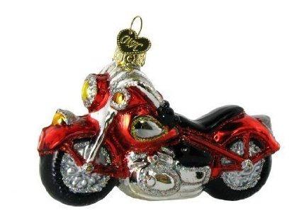 Viejo Mundo De Navidad Motocicleta Vidrio Soplado Ornamento