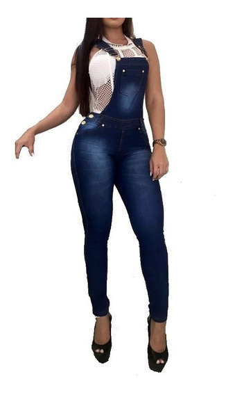 Macacão Jeans Feminino Jardineira Calça Lycra Mac01
