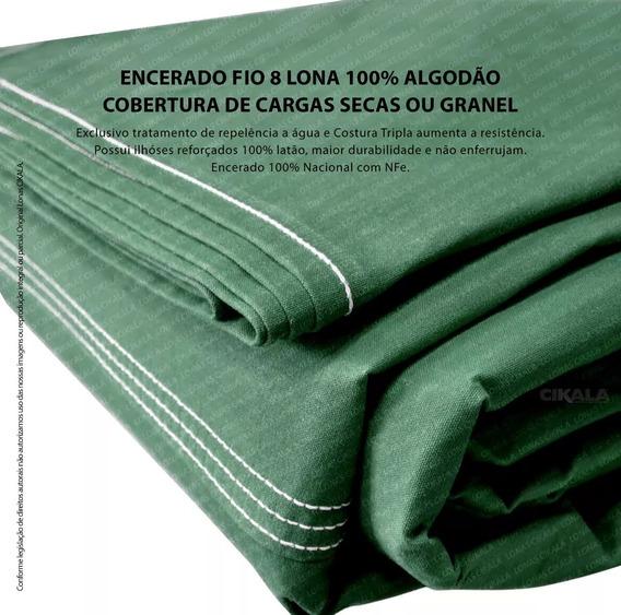 Encerado Lona Algodão Verde Fio 8 Cobertura De Carga 3x2 Mts