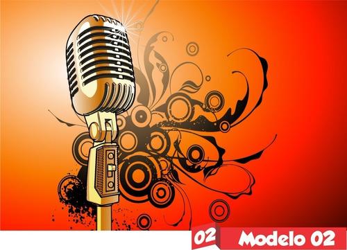 Painel Lona Festa  Microfone Música Notas Teclado Balada