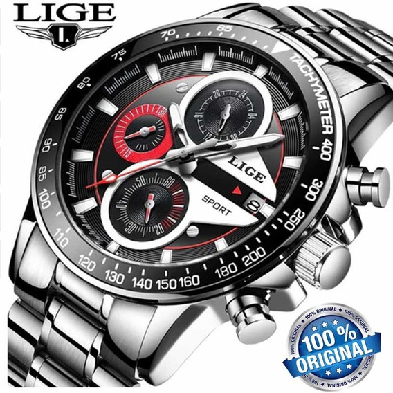 Relógio Lige 9835 Quartzo Prata Esporte De Luxo Original