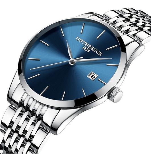 Relógio De Quartzo Com Pulseira De Aço Inoxidável Azul