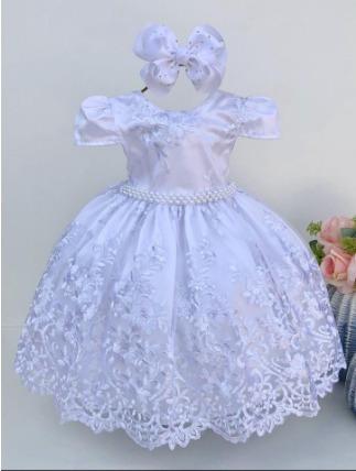 Vestido Branco Infantil Realeza + Luvinha Daminha Casamento Batizado Tamanho 4,6,8,10,12 2186