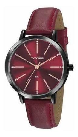 Relógio Feminino Preto Com Pulseira De Couro Vermelha + Nf