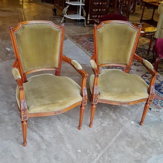 Mobiliarios Galli Antiguo Par De Sillones Francés Luis Xvi