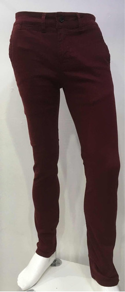 Pantalón De Gabardina Skinny Vino