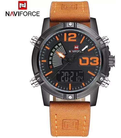 Relógio Naviforce 9095 Pulseira De Couro Luxo Top Na Caixa