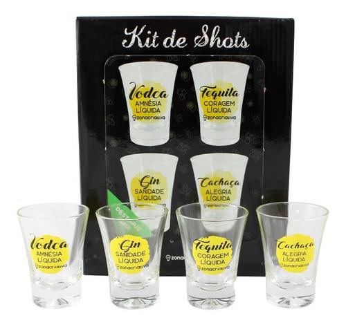Drink Kit Shot C/ 4 Pçs 60ml Soluçoes Liquidas Zona Criativa