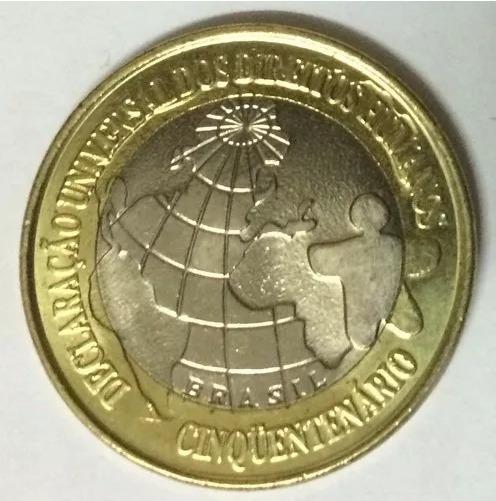Sache Com 50 Moedas De R$ 1,00 Comemorativa Direitos Humanos