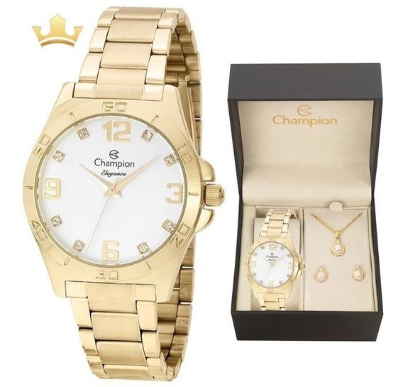 Relógio Champion Feminino Kit Cn28446w Com Nf