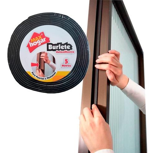 Burlete Para Puertas Y Ventanas 12.5x5mts Max Hogar - Negro
