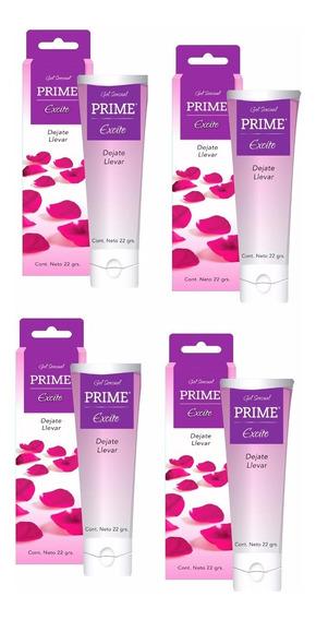 Combo Gel Prime X4 Excite Lubricante Placer Femenino 22gr