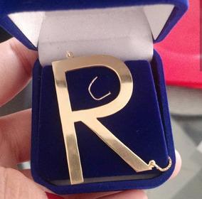 Letra Personalizada Em Prata 925 Folheada A Ouro