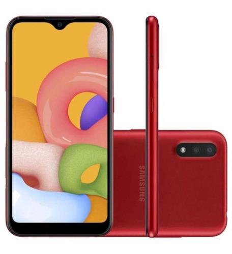 Imagem 1 de 4 de Celular Samsung A015m/32dl Glx A01 4g Vermelho