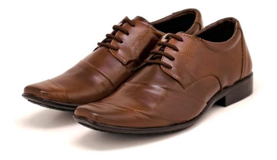 Sapato Social Masculino Leoppé De Cadarço Em Couro Legítimo