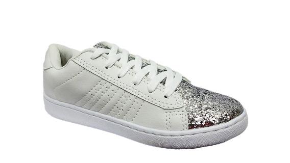 Tenis Feminino Casual Branco Prata Dello S/ Frete 003951