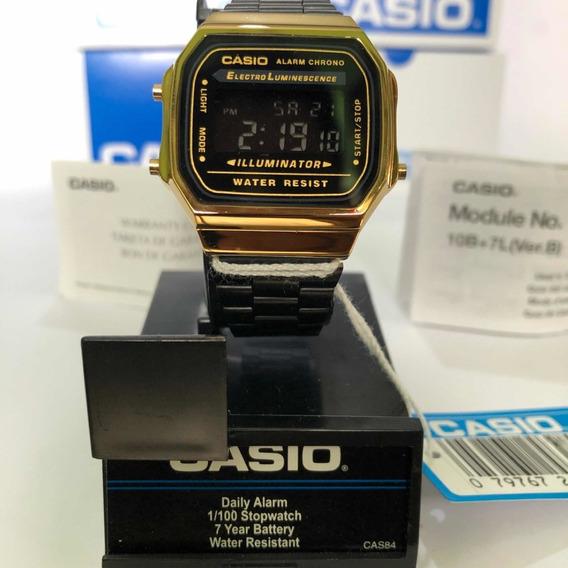 Reloj Casio A168w Dorado Y Negro Gold Vintage Retro Original
