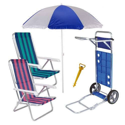 Kit Praia Carrinho Com Avanço Guarda Sol Cadeira Reclinável