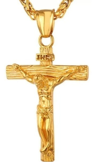 Colar Masculino Crucifixo Banhado A Ouro Aço Inox 316l