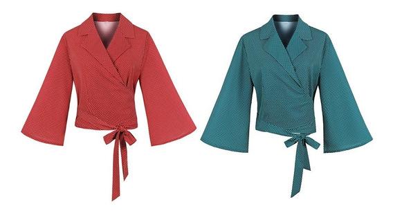 Blusa De Gasa Delgada De Abrigo De Lunares Para Mujer