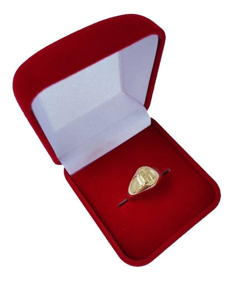 Anel Chapa Redondo Com Letra 2 Grs Em Ouro 18kl